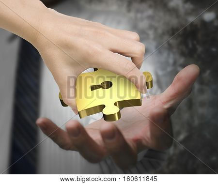 Hand Giving One Golden Puzzle Piece With Keyhole