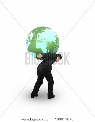 Man Carrying One Colorful Globe
