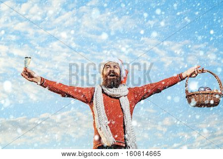 Christmas Man With Champagne And Basket
