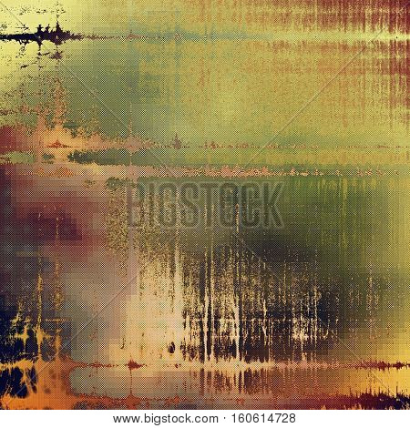 Antique frame or background with vintage feeling. Aged texture with different color patterns: yellow (beige); brown; green; gray; purple (violet); pink