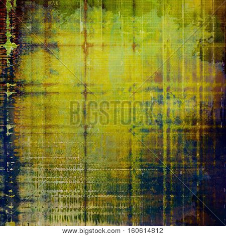 Background with dirty grunge texture, vintage style elements and different color patterns: yellow (beige); brown; green; blue; purple (violet)