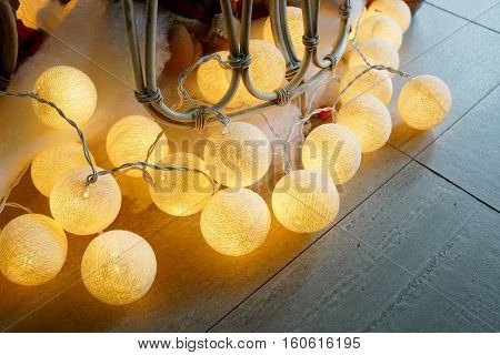 Lamp look like lighting ball on the ground for party