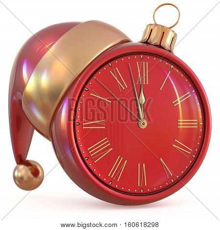 New Year's Eve last hour Christmas ball clock midnight countdown time Santa Claus hat decoration ornament red golden adornment. 3d illustration