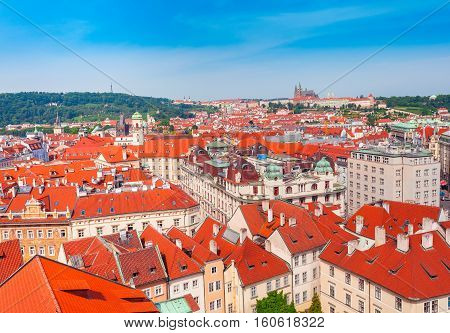 Panoramic view of St. Vitus Cathedral, Castle and city in Prague, Czech Republic. Beautiful dramatic picture in pink colors