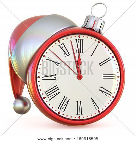 New Year's Eve time midnight last hour countdown Christmas ball clock Santa hat decoration ornament red adornment. 3d illustration