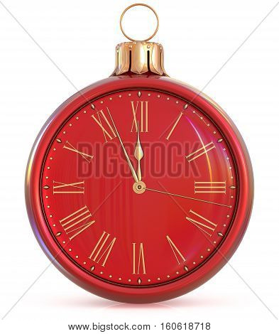 New Year's Eve clock midnight last hour countdown pressure Christmas ball decoration ornament red golden sparkly adornment bauble. 3d illustration