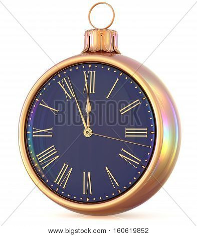 New Year's Eve clock midnight last hour countdown pressure Christmas ball decoration ornament black gold sparkly adornment bauble. 3d illustration