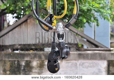 Selective focus on the regulator, SCUBA diving equipment
