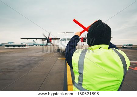 Navigation Of The Airplane At The Airport
