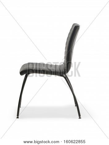 Chair waiting room of black leather isolated on white background