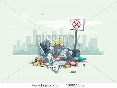 Vector illustration of littering waste pile that have been disposed improperly without consent at an inappropriate location around on the street exterior with city skyscrapers skyline in the background. Trash is fallen on the ground and creates a big stac