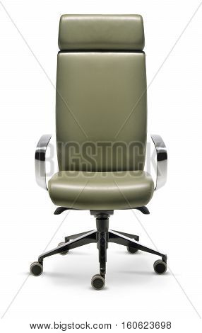Office executive chair in green leather front view