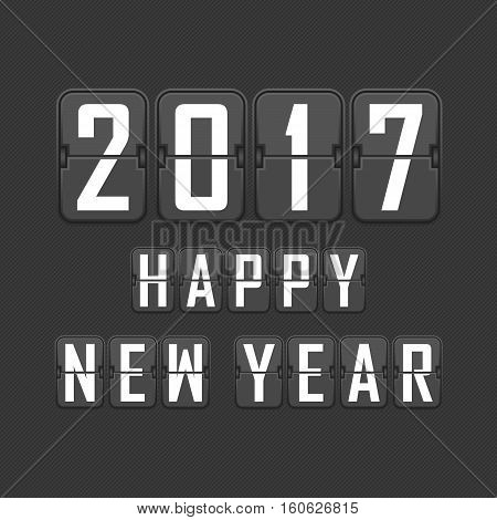 Happy New Year 2017 vector illustration. Mechanical flip clock design. Background for new year celebration.
