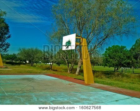 Basketball court in an ideal place for sports and recreation
