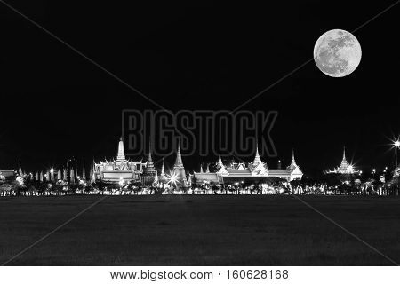 Black And White Effect Of Wat Pra Kaew Public Temple Grand Palace With Super Moon At Night, Bangkok