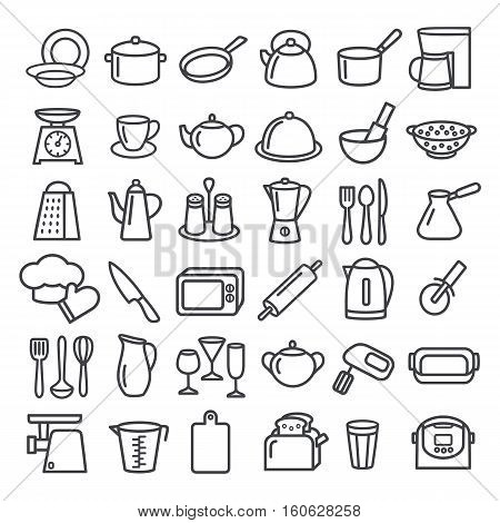 Set of modern thin line icons home tableware household and kitchen utensils
