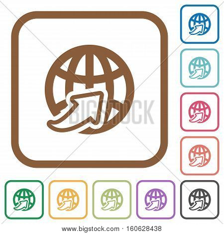 Worldwide simple icons in color rounded square frames on white background