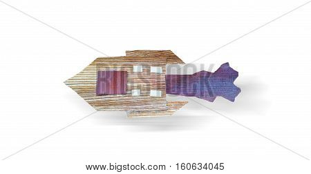 Rocket ship travel isolated on white background.Creative idea by wooden material craft.Collage art handmade