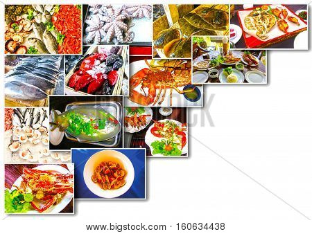 Sea food collage with raw fish and restaurant fish dishes on white background