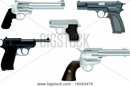 Gun and revolver illustration