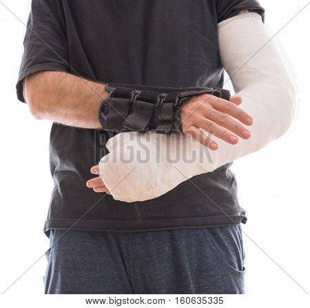 Young Man Wearing A Long Arm Cast And A Splint