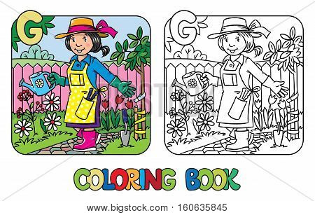 Coloring picture or coloring book of funny gardener. Woman in gloves, hat and watering can tending the flowers in the garden. Profession ABC series. Childrens vector illustration. Alphabet G