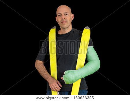 Young Man In An Arm Cast After An Alipne Skiing  Accident