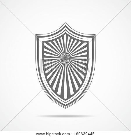 Gray shield in flat design. Shield icon isolated. Vector illustration.