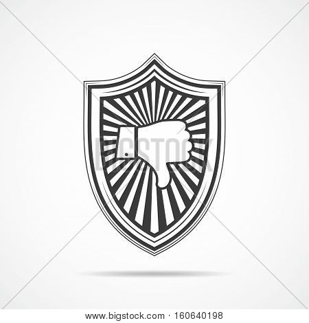 Black shield with dislike hand icon on light background. Shield icon in flat style. Vector illustration.