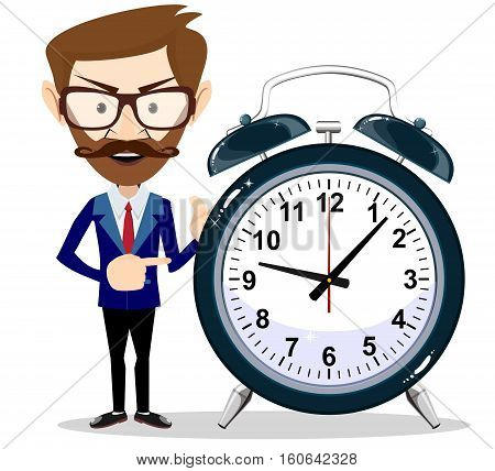 Vector illustration of a smiling cartoon businessman with alarm clocks, symbolizing time management.