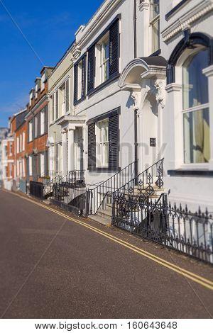 Several houses on Beacon Street. Exmouth. Devon. England