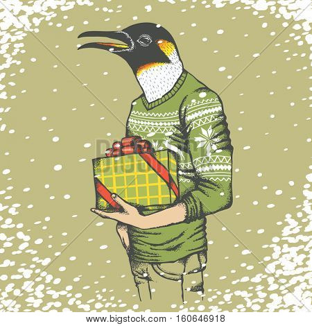 Christmas penguin vector illustration. Penguin in human sweatshirt with gift