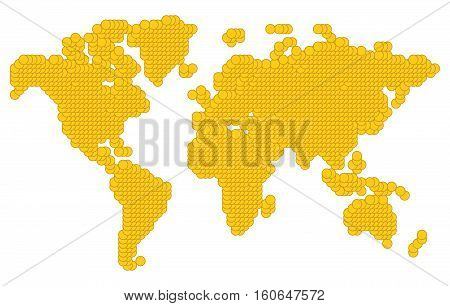 World map made of coins. Original abstract vector illustration.