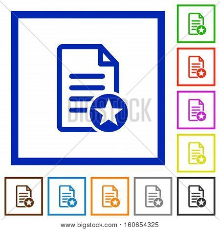 Favorite document flat color icons in square frames
