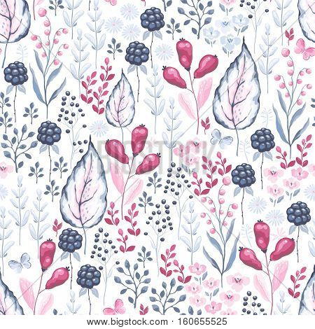 Ornate seamless pattern with Barberry, Blackberry, leaves, branches and flying butterflies. Vector illustration on white background.