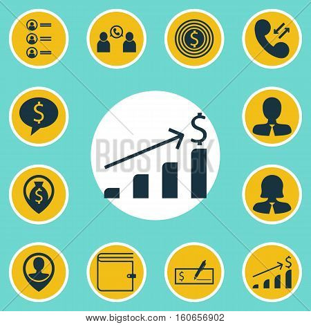 Set Of Management Icons On Money Navigation, Phone Conference And Cellular Data Topics. Editable Vector Illustration. Includes Purse, List, Check And More Vector Icons.