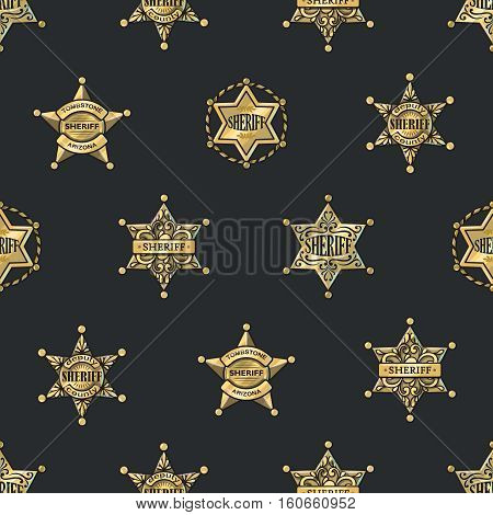 Sheriff badges seamless pattern with golden shiny five and six rays stars on black background vector illustration