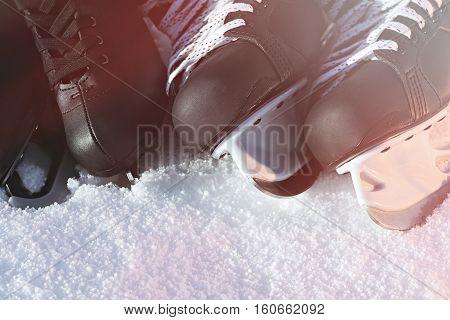Black Hockey Skates And For Figure Skating. Snow, Bright Sun