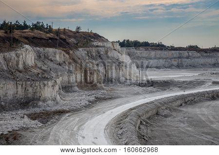 Road for dump trucks in chalk quarry mining