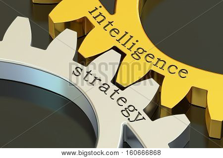 intelligence strategy concept on the gearwheels 3D rendering