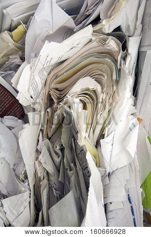 texture of paper wrapped and piled ready to recycle