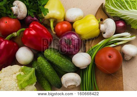 Close up composition of various colorful raw vegetables