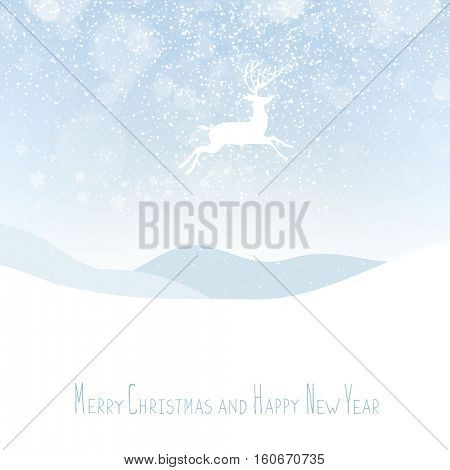 Merry Christmas postcard. Christmas deer. Calm winter scene.  Snowfall
