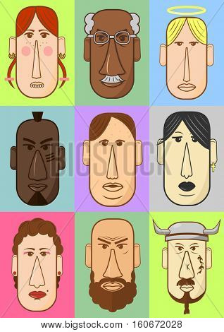 Avatar, woman, man heads characters. People vector shape heads different nationality in flat style.