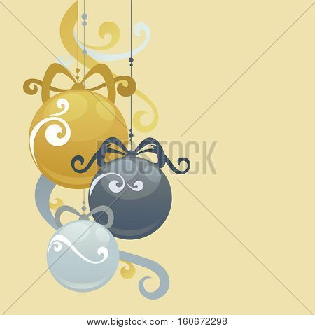 Christmas greeting card with abstract swirl Christmas balls. Vector illustration.