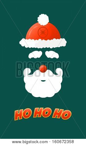 Santa hat, moustache and beard. Christmas elements for your festive design.