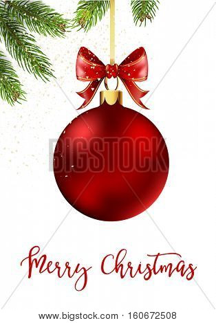 Red Christmas ball with ribbon and a bow with fir tree, decoration element for christmas decoration isolated on white background. Vector illustration.