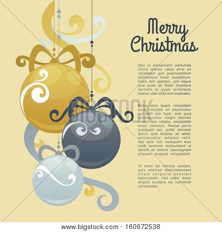 New Year greeting card design with stylized christmas ball . Vector illustration