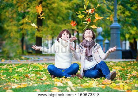 Mother And Daughter On A Fall Day