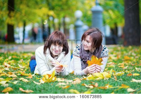 Mother And Daughter Together In Park